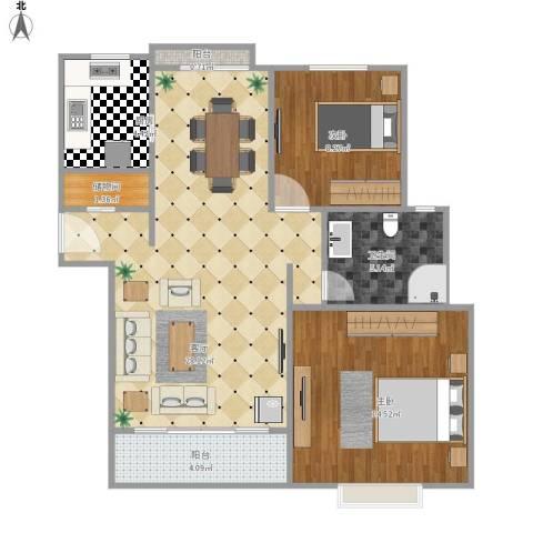 丽湾国际2室1厅1卫1厨90.00㎡户型图