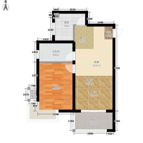 金城花园二期1室1厅1卫1厨61.00㎡户型图