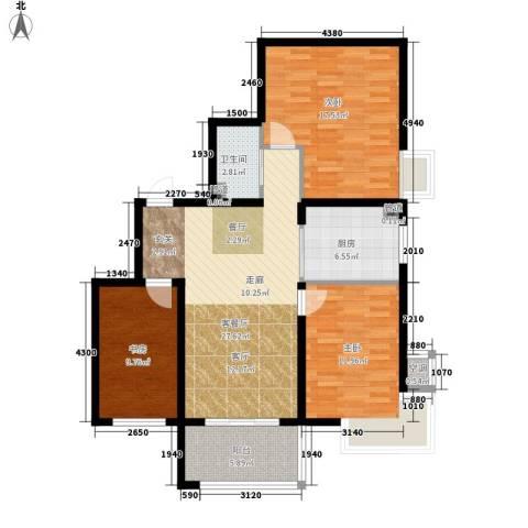 金城花园二期3室1厅1卫1厨96.00㎡户型图