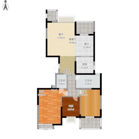 海琴湾3室1厅2卫1厨192.00㎡户型图