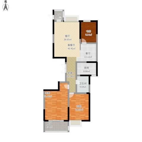 海琴湾3室1厅1卫1厨156.00㎡户型图