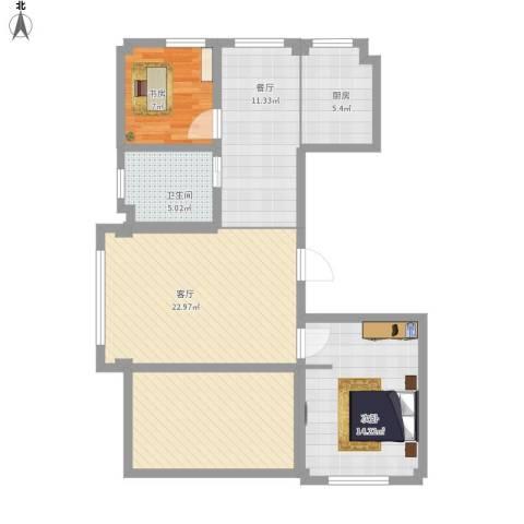 昆仑新天地3室2厅1卫1厨200.00㎡户型图