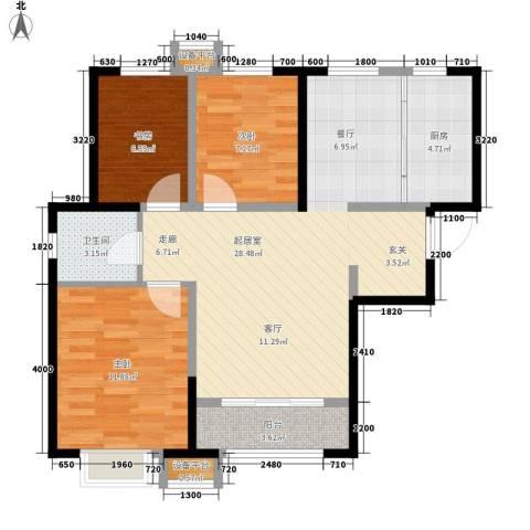 天洋 翠堤湾3室0厅1卫1厨95.00㎡户型图