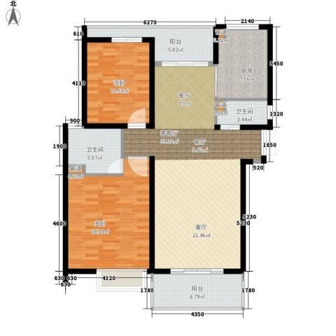 紫荆苑2室1厅2卫1厨110.00㎡户型图