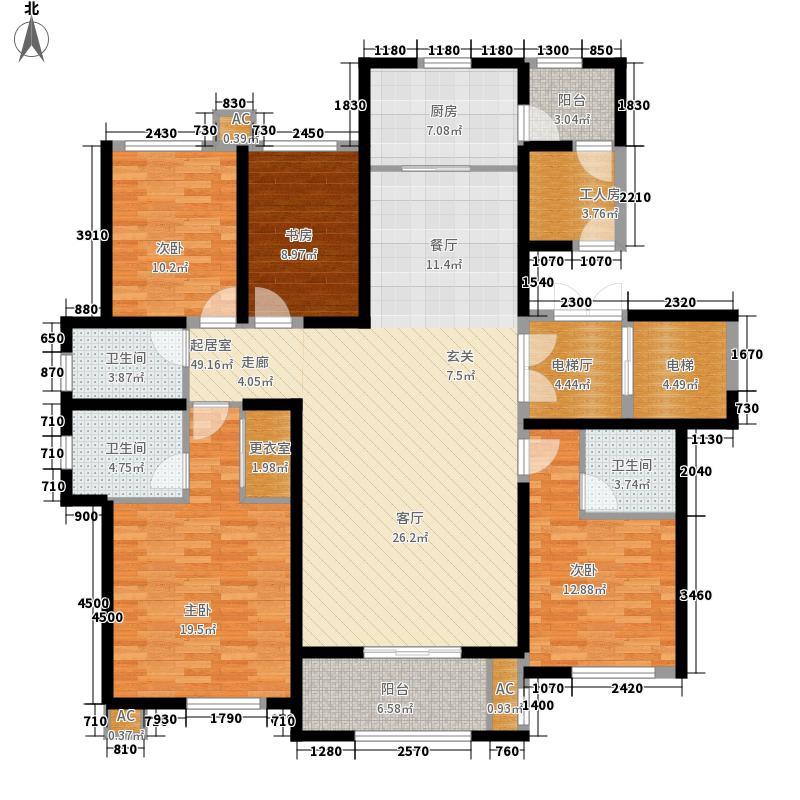 乡居假日香醍园183.31㎡G户型标准层四室两厅三卫183.31平米户型4室2厅3卫