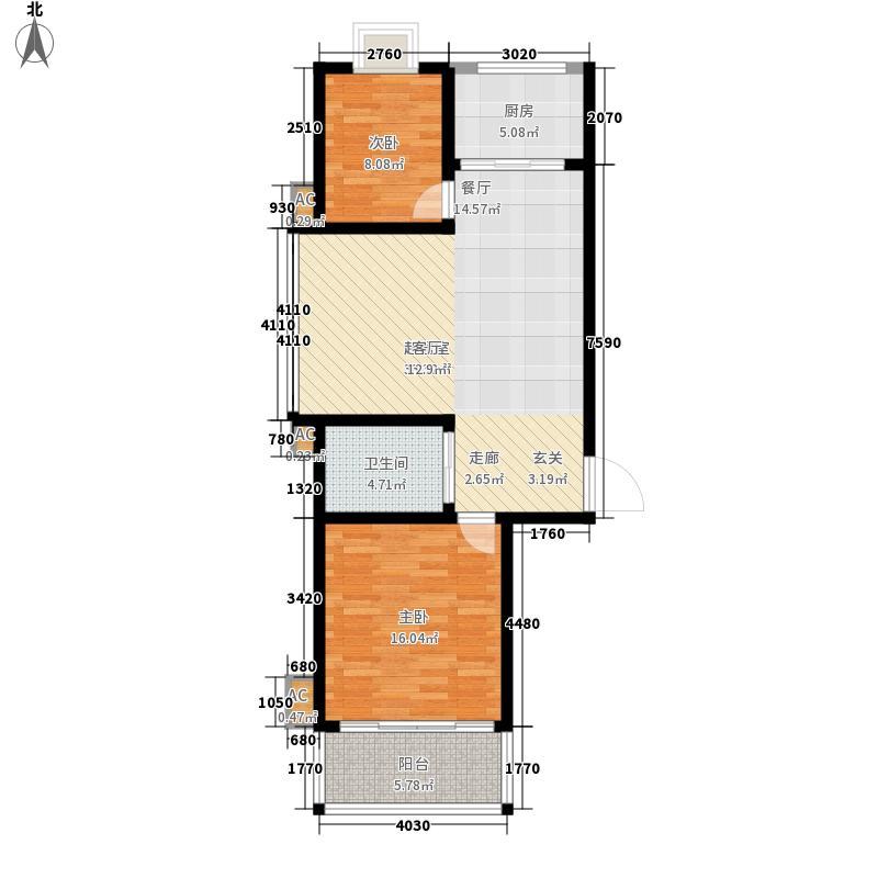 一达滨海花园85.00㎡滨海花园户型图户型2室2厅1卫