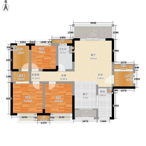 泊富君庭3室0厅1卫1厨136.00㎡户型图