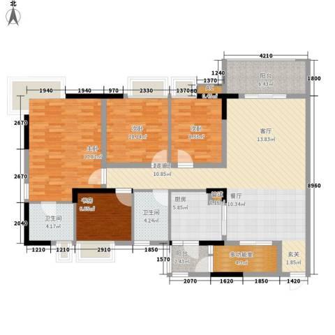 时代花园4室0厅2卫1厨123.69㎡户型图