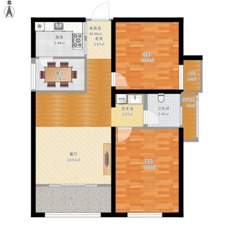 盛大凯旋城2室1厅1卫1厨121.00㎡户型图