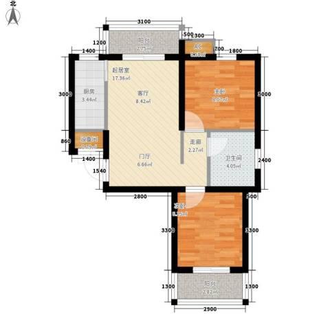香格里拉・上河湾2室0厅1卫1厨71.00㎡户型图