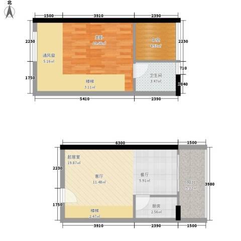 理想青年荟1室0厅1卫1厨55.11㎡户型图