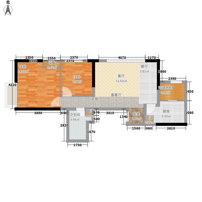 金融街融御93.00㎡高层2号楼标准层J户型2室2厅