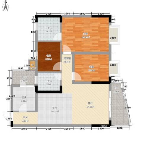 回龙湾小区3室0厅2卫1厨92.00㎡户型图