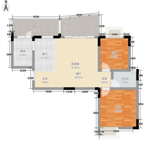 回龙湾小区2室0厅1卫1厨79.00㎡户型图