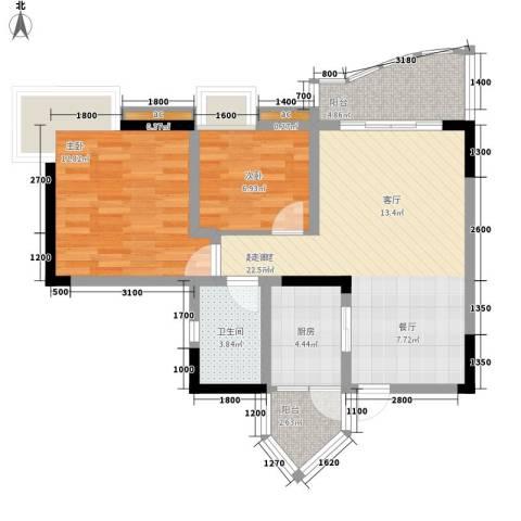 青河世家2室0厅1卫1厨65.00㎡户型图