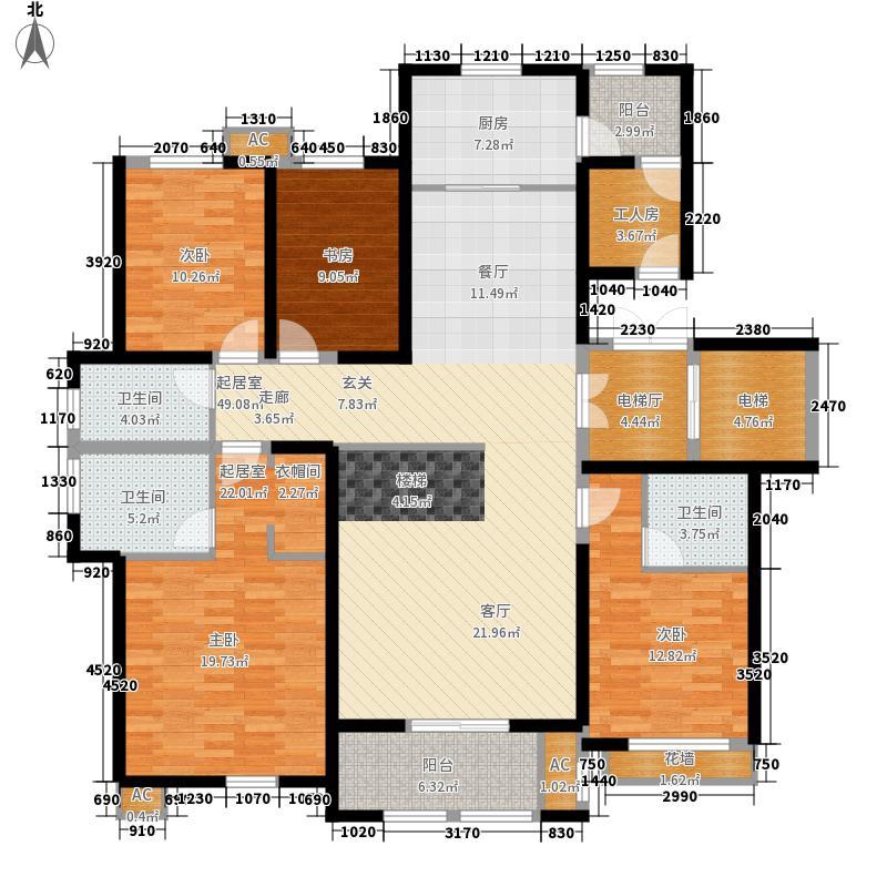 乡居假日香醍园183.31㎡G户型上跃下层四室两厅三卫183.31平米户型4室2厅3卫