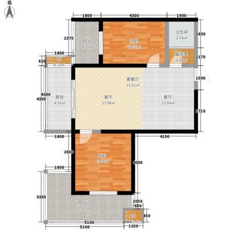 宝枫佳苑2室1厅1卫1厨112.00㎡户型图