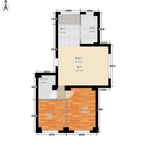 实华・新兴佳园2室1厅1卫1厨83.00㎡户型图