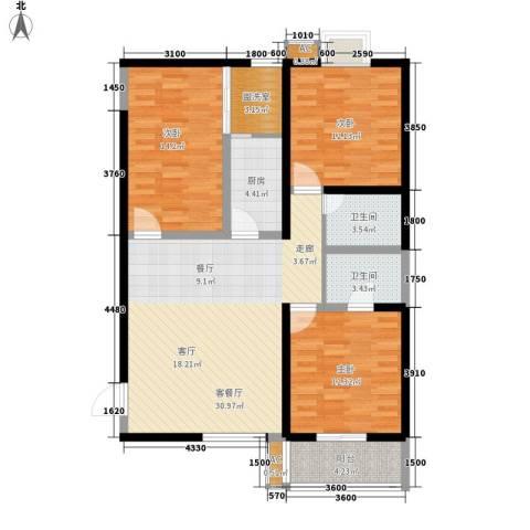 宝枫佳苑3室1厅2卫1厨122.00㎡户型图