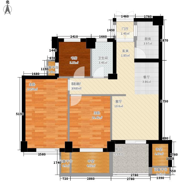 88.00㎡A3a偶数标准层户型3室2厅1卫