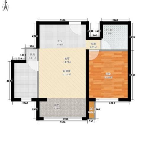 瑞江花园兰苑1室0厅1卫1厨57.00㎡户型图