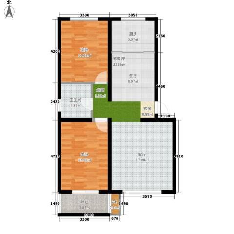山海国际2室1厅1卫1厨89.00㎡户型图