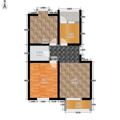 第六大道2室0厅1卫1厨95.00㎡户型图