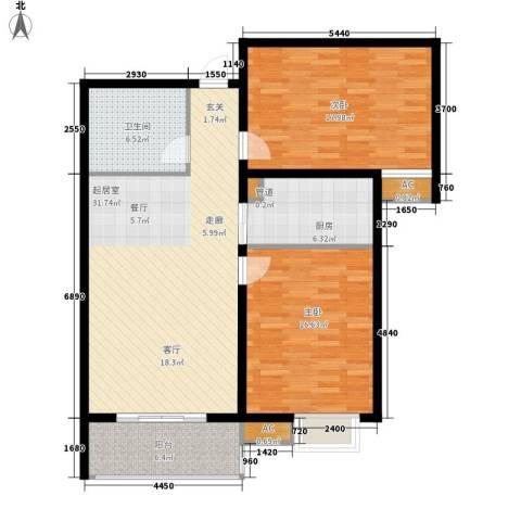 谈固国瑞城2室0厅1卫1厨96.00㎡户型图