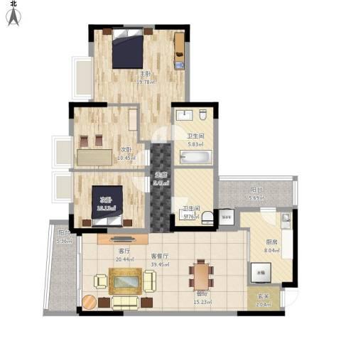 银信花园3室1厅2卫1厨156.00㎡户型图