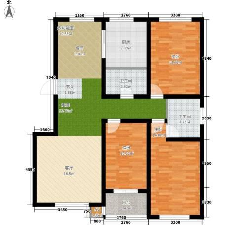 山海国际3室0厅2卫1厨130.00㎡户型图