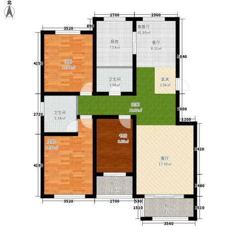 山海国际3室1厅2卫1厨134.00㎡户型图