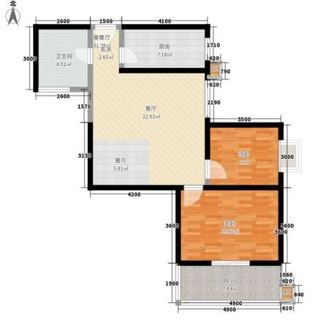 宝枫佳苑2室1厅1卫1厨106.00㎡户型图