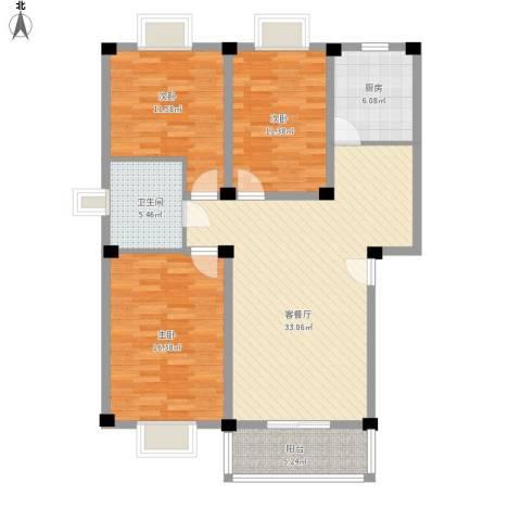 国芳世贸花园3室1厅1卫1厨127.00㎡户型图