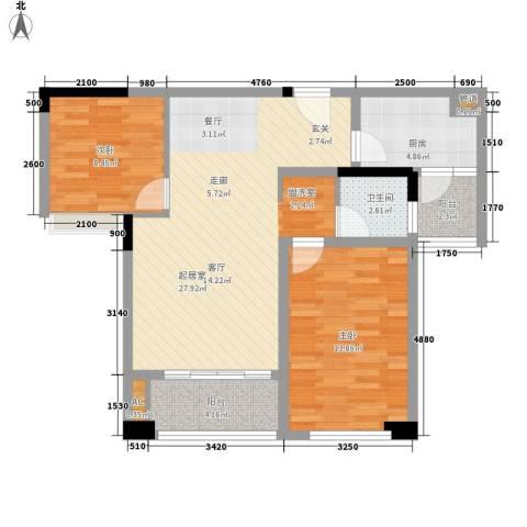 鹏基万林湖生态美墅2室0厅1卫1厨75.30㎡户型图