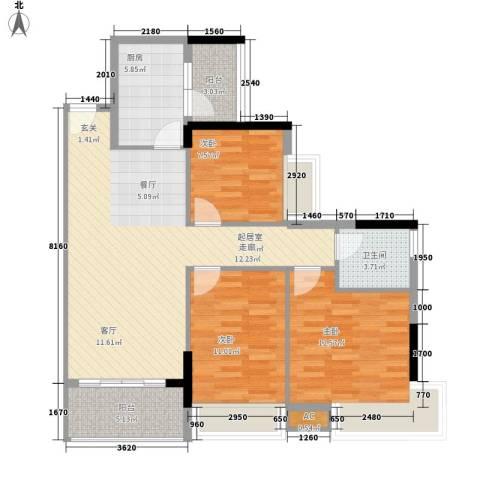 汇泰锦城3室0厅1卫1厨89.00㎡户型图