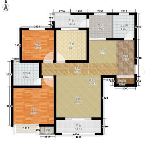 南湖林语3室1厅2卫1厨129.00㎡户型图