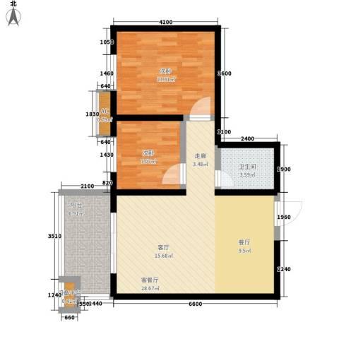 宝枫佳苑2室1厅1卫0厨83.00㎡户型图