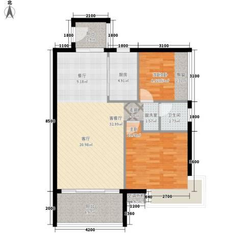 天天向上2室1厅1卫1厨102.00㎡户型图