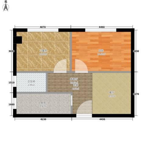 金谷鑫城三期2室1厅1卫1厨53.00㎡户型图