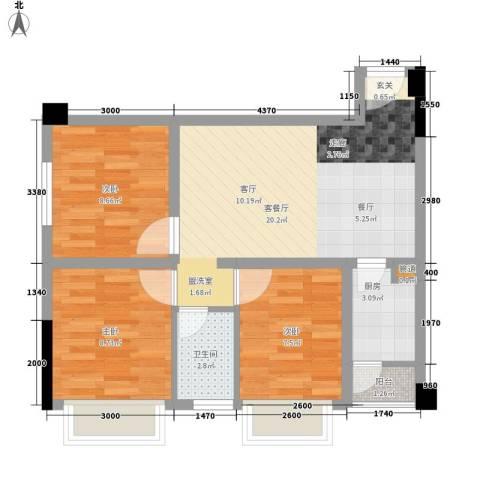 星东・上海花园3室1厅1卫1厨60.79㎡户型图