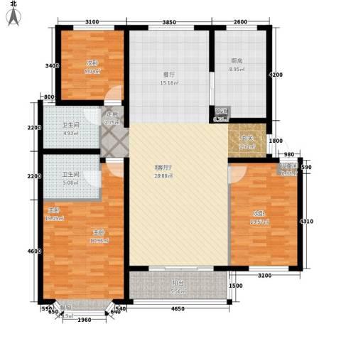 任家庄3室1厅2卫1厨164.00㎡户型图