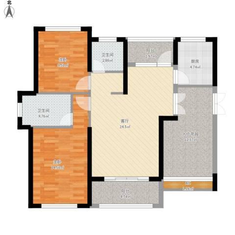 滨江果园避寒度假山庄2室1厅2卫1厨119.00㎡户型图