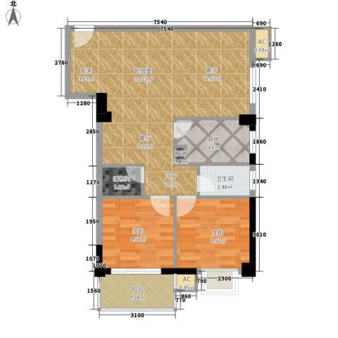 金榜名苑2室0厅1卫1厨72.00㎡户型图