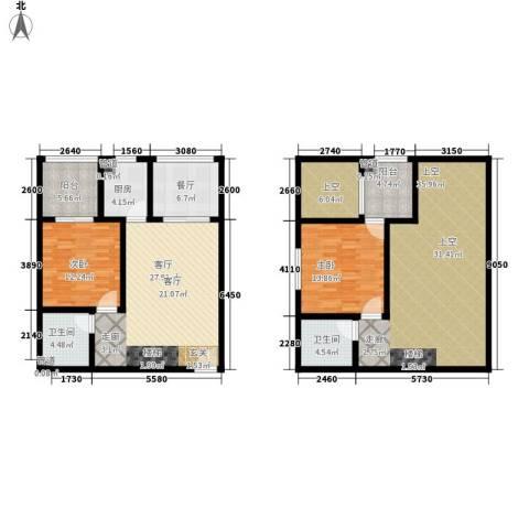 叠彩城一期2室2厅2卫1厨126.67㎡户型图
