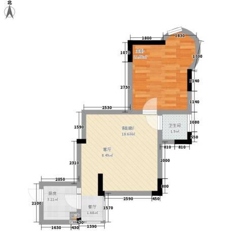 鸳鸯北湖郡1室1厅1卫1厨42.00㎡户型图