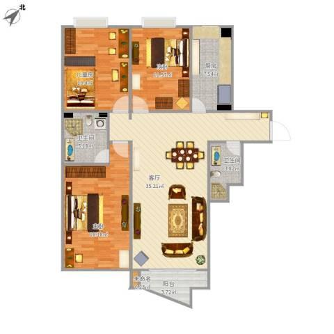 兴隆家园三期3室1厅2卫1厨134.00㎡户型图