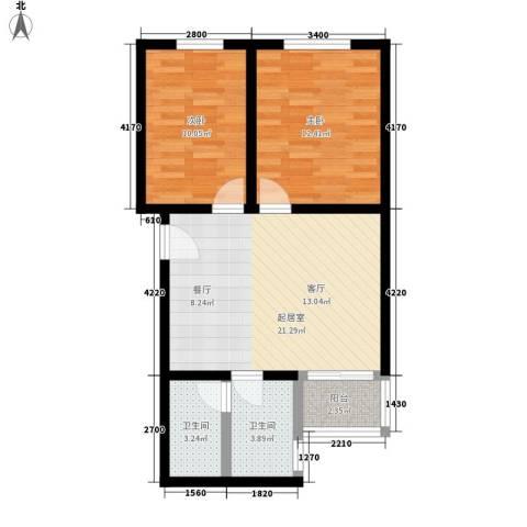 螺丝浜2室0厅2卫0厨60.00㎡户型图