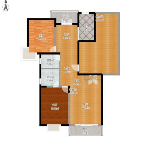 耀江国际广场公寓2室1厅2卫1厨162.91㎡户型图