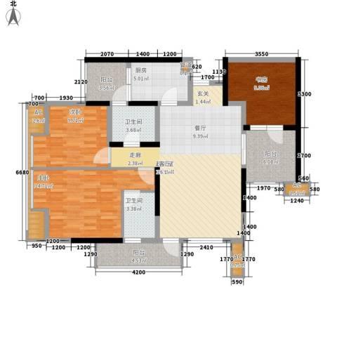天下城3室0厅2卫1厨106.00㎡户型图