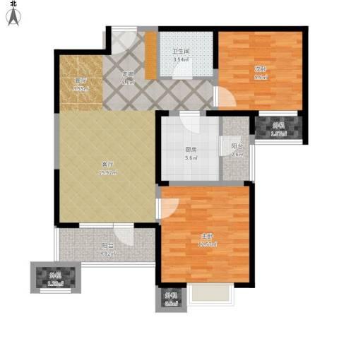 天津湾海景文苑2室1厅1卫1厨101.00㎡户型图